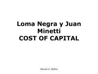 Loma Negra y Juan Minetti  COST OF CAPITAL