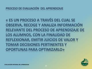 PROCESO DE EVALUACI N  DEL APRENDIZAJE     es un proceso a trav s del cual se observa, recoge y analiza informaci n rele