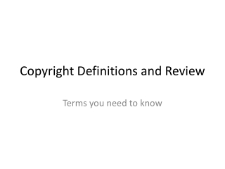 Copyright Terms and Definitions