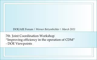 7th  Joint Coordination Workshop  Improving efficiency in the operation of CDM  - DOE Viewpoints