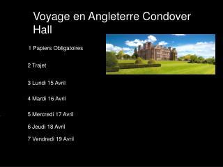 Voyage en Angleterre Condover Hall