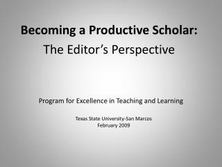Program for Excellence in Teaching and Learning
