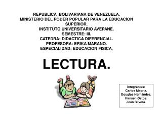 REPUBLICA  BOLIVARIANA DE VENEZUELA. MINISTERIO DEL PODER POPULAR PARA LA EDUCACION SUPERIOR. INSTITUTO UNIVERSITARIO AV