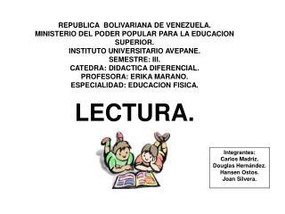 REPUBLICA  BOLIVARIANA DE VENEZUELA. MINISTERIO DEL PODER POPULAR PARA LA EDUCACION SUPERIOR. INSTITUTO UNIVERSITARIO AV