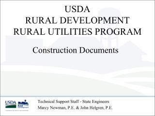 USDA  RURAL DEVELOPMENT  RURAL UTILITIES PROGRAM