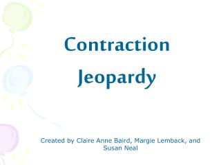 Contraction Jeopardy