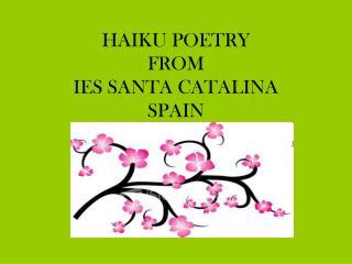 HAIKU POETRY FROM  IES SANTA CATALINA SPAIN