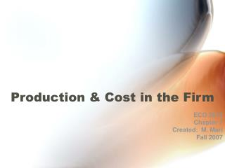 Production  Cost in the Firm