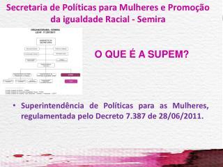 O QUE   A SUPEM Superintend ncia de Pol ticas para as Mulheres,  regulamentada pelo Decreto 7.387 de 28