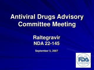 Antiviral Drugs Advisory Committee Meeting