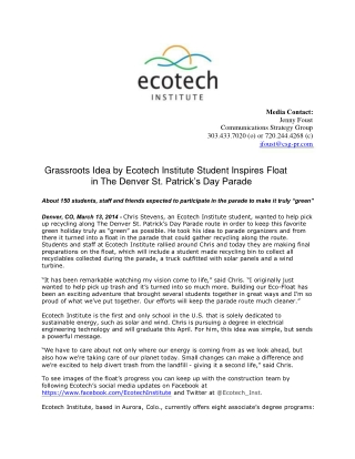 Grassroots Idea by Ecotech Institute Student Inspires Float