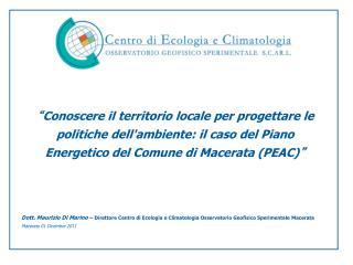 Conoscere il territorio locale per progettare le politiche dellambiente: il caso del Piano Energetico del Comune di Mac