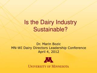Is the Dairy Industry Sustainable