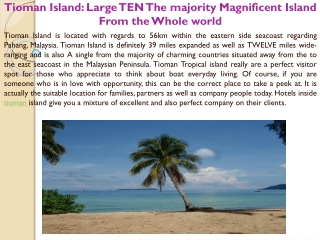 Tioman Island Large TEN The majority Magnificent Island From
