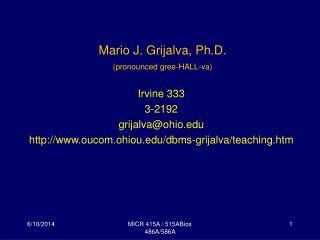 Mario J. Grijalva, Ph.D. pronounced gree-HALL-va