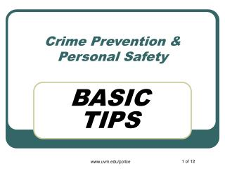 Crime Prevention  Personal Safety