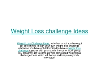 Weight Loss Challenge Ideas
