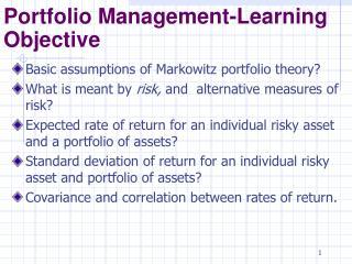 Portfolio Management-Learning Objective