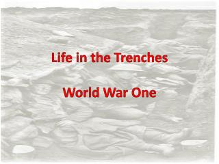 Life in the Trenches  World War One