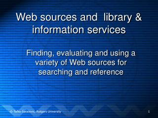 Web sources and  library  information services