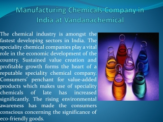 Manufacturing Chemicals Company in India at Vandanachemical