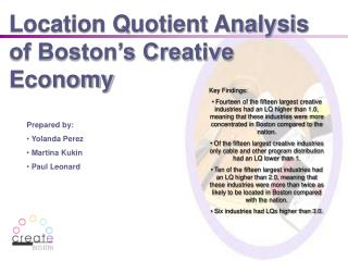 Location Quotient Analysis of Boston s Creative Economy