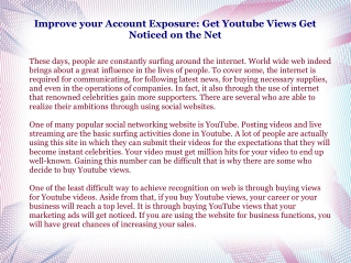 Improve your Account Exposure: Get Youtube Views Get Noticed