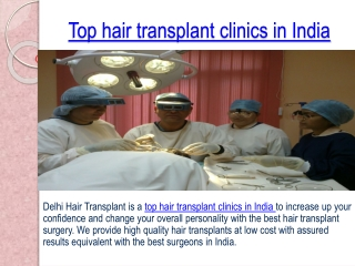 Looking for Best Top hair transplant clinics in India