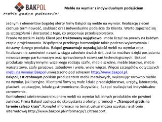 Meble na wymiar Bakpol