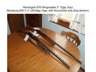 Remington 870 Wingmaster 3  12ga. top Mossburg 835 3    Ulti-Mag 12ga. with Accuchoke and sling bottom