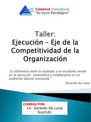 Taller: Ejecuci n   Eje de la Competitividad de la Organizaci n
