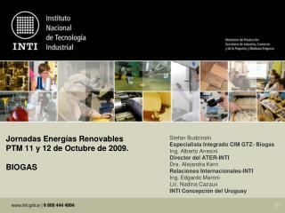 Jornadas Energ as Renovables PTM 11 y 12 de Octubre de 2009.  BIOGAS