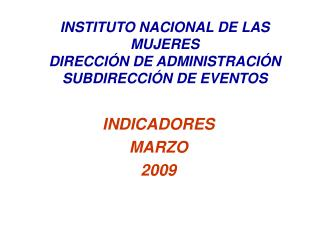 INDICADORES  MARZO 2009