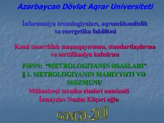 Azrbaycan D vlt Aqrar Universiteti  Informasiya texnologiyalari, aqrom hndislik  v energetika fak ltsi  Knd tsrr fati ma
