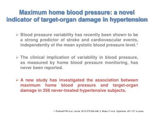 Maximum home blood pressure: a novel indicator of target-organ damage in hypertension