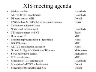 XIS meeting agenda