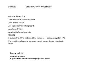 ENVR 230  CHEMICAL CARCINOGENESIS   Instructor: Avram Gold Office: McGavran-Greenberg 4114C Office phone: 6 7304 Lab: Mc