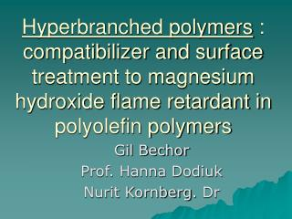 Hyperbranched polymers : compatibilizer and surface treatment to magnesium hydroxide flame retardant in polyolefin polym