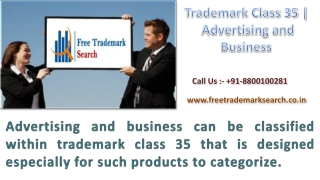 Trademark Class 35 | Advertising and Business