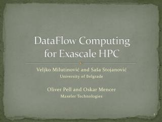 DataFlow Computing  for Exascale HPC