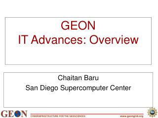 GEON IT Advances: Overview