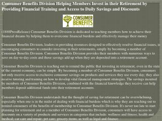 consumer benefits division helping members invest in their r