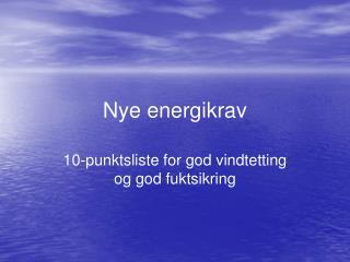 Nye energikrav