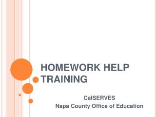 HOMEWORK HELP TRAINING