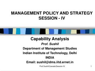 MANAGEMENT POLICY AND STRATEGY SESSION - IV
