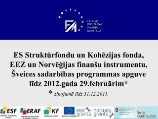ES Strukturfondu un Kohezijas fonda, EEZ un Norvegijas finan u instrumentu,  veices sadarbibas programmas apguve lidz 20