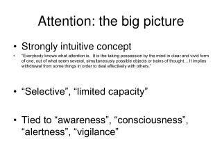 Attention: the big picture