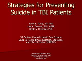 Strategies for Preventing Suicide in TBI Patients