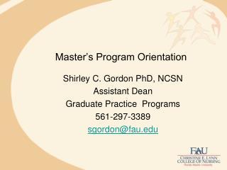 Master s Program Orientation