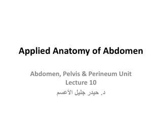 Applied Anatomy of Abdomen